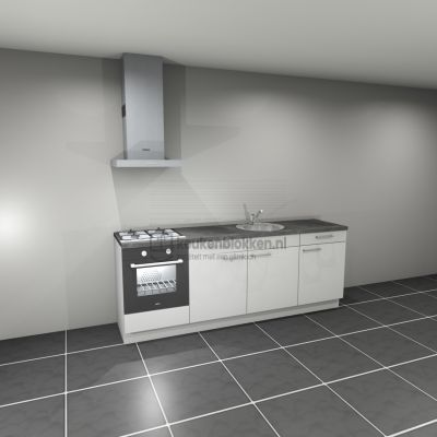 Keukenblok met apparatuur, gaskookplaat, spoelbak middenrechts 2.40 m breed - Alpine wit