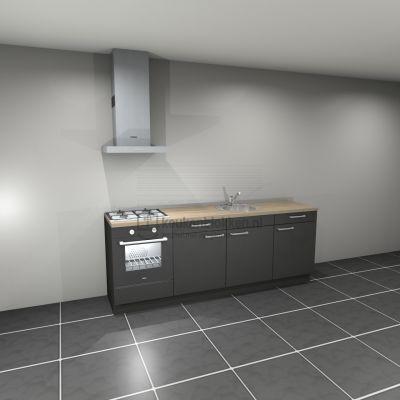 Keukenblok met apparatuur, gaskookplaat, spoelbak middenrechts 2.40 m breed - Carbon zwart