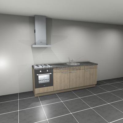Keukenblok met apparatuur, gaskookplaat, spoelbak middenrechts 2.40 m breed - Eiken zand