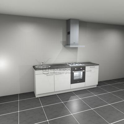 Keukenblok met apparatuur, gaskookplaat, spoelbak links 2.40 m breed - Alpine wit