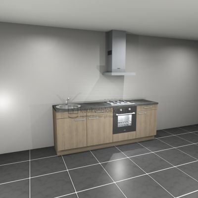 Keukenblok met apparatuur, gaskookplaat, spoelbak links 2.40 m breed - Eiken zand
