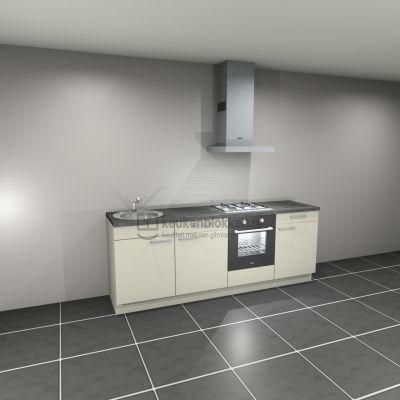 Keukenblok met apparatuur, gaskookplaat, spoelbak links 2.40 m breed - Magnolia