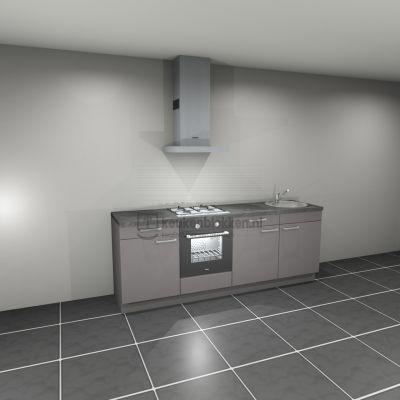 Keukenblok met apparatuur, gaskookplaat, spoelbak rechts 2.40 m breed - Onyx grijs