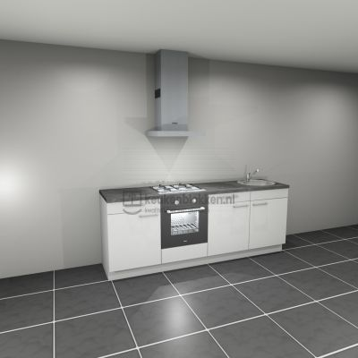 Keukenblok met apparatuur, gaskookplaat, spoelbak rechts 2.40 m breed - Alpine wit