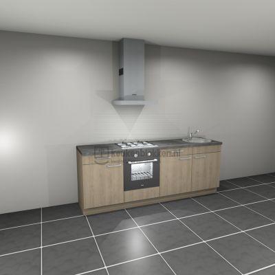 Keukenblok met apparatuur, gaskookplaat, spoelbak rechts 2.40 m breed - Eiken zand