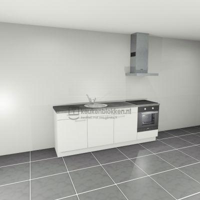 Keukenblok met apparatuur, inductiekookplaat, spoelbak middenlinks 2.40 m breed - Alpine wit