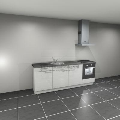 Keukenblok met apparatuur, inductiekookplaat, spoelbak middenlinks 2.40 m breed - Alpine wit hoogglans