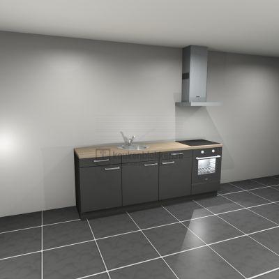 Keukenblok met apparatuur, inductiekookplaat, spoelbak middenlinks 2.40 m breed - Carbon zwart