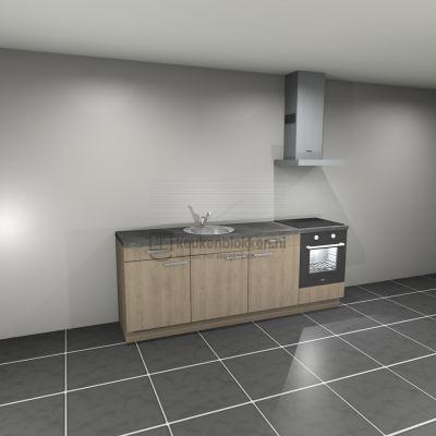 Keukenblok met apparatuur, inductiekookplaat, spoelbak middenlinks 2.40 m breed - Eiken zand