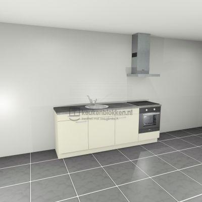 Keukenblok met apparatuur, inductiekookplaat, spoelbak middenlinks 2.40 m breed - Magnolia