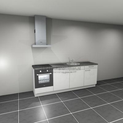 Keukenblok met apparatuur, inductiekookplaat, spoelbak middenrechts 2.40 m breed - Alpine wit