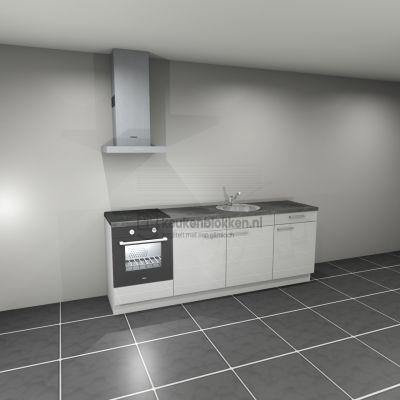 Keukenblok met apparatuur, inductiekookplaat, spoelbak middenrechts 2.40 m breed - Alpine wit hoogglans