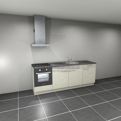 Keukenblok met apparatuur, inductiekookplaat, spoelbak middenrechts 2.40 m breed - Magnolia