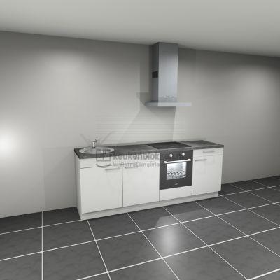 Keukenblok met apparatuur, inductiekookplaat, spoelbak links 2.40 m breed - Alpine wit