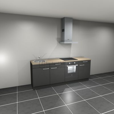 Keukenblok met apparatuur, inductiekookplaat, spoelbak links 2.40 m breed - Carbon zwart