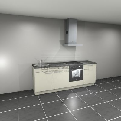 Keukenblok met apparatuur, inductiekookplaat, spoelbak links 2.40 m breed - Magnolia