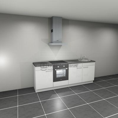 Keukenblok met apparatuur, inductiekookplaat, spoelbak rechts 2.40 m breed. - Alpine wit