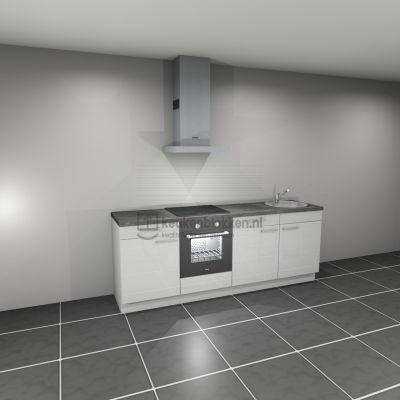 Keukenblok met apparatuur, inductiekookplaat, spoelbak rechts 2.40 m breed. - Alpine wit hoogglans