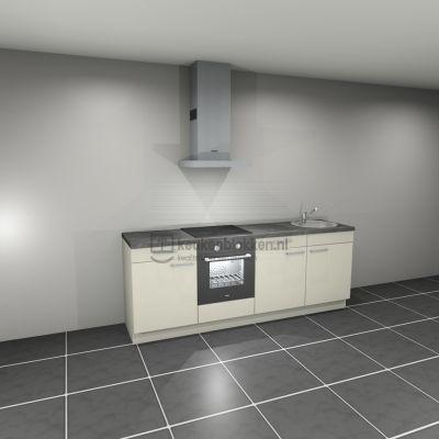 Keukenblok met apparatuur, inductiekookplaat, spoelbak rechts 2.40 m breed. - Magnolia