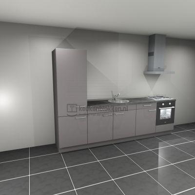 Keukenblok met apparatuur, koelkast, gaskookplaat, spoelbak midden 3.00 m breed - Onyx grijs