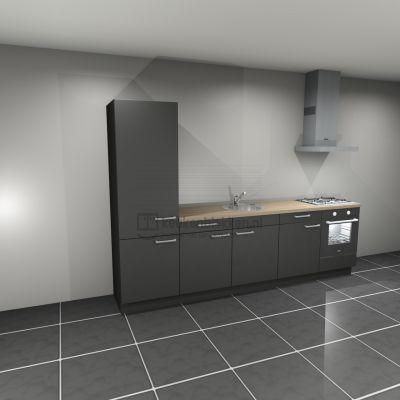 Keukenblok met apparatuur, koelkast, gaskookplaat, spoelbak midden 3.00 m breed - Carbon zwart