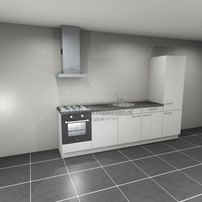Keukenblok met apparatuur,  gaskookplaat, spoelbak midden, koelkast  3.00m breed - Alpine wit
