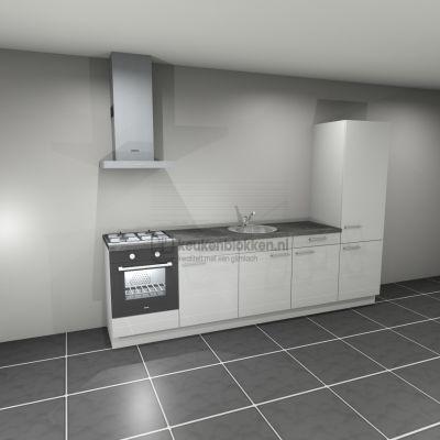 Keukenblok met apparatuur,  gaskookplaat, spoelbak midden, koelkast  3.00m breed - Alpine wit hoogglans