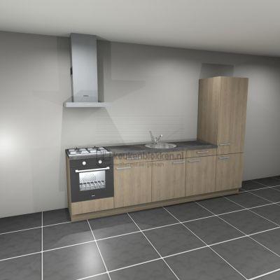 Keukenblok met apparatuur,  gaskookplaat, spoelbak midden, koelkast  3.00m breed - Eiken zand