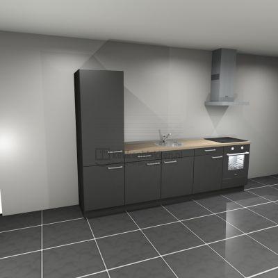 Keukenblok met apparatuur, koelkast, inductiekookplaat, spoelbak midden 3.00 m breed - Carbon zwart
