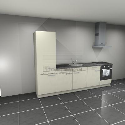 Keukenblok met apparatuur, koelkast, inductiekookplaat, spoelbak midden 3.00 m breed - Magnolia