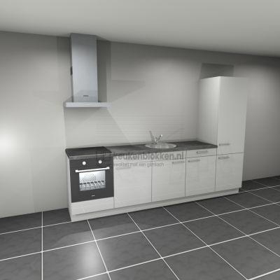 Keukenblok met apparatuur, inductiekookplaat, spoelbak midden, koelkast  3.00m breed - Alpine wit hoogglans