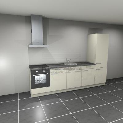 Keukenblok met apparatuur, inductiekookplaat, spoelbak midden, koelkast  3.00m breed - Magnolia