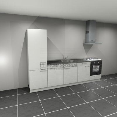 Keukenblok met apparatuur, koelkast, gaskookplaat, vaatwasser, spoelbak midden 3.00 m breed - Alpine wit hoogglans