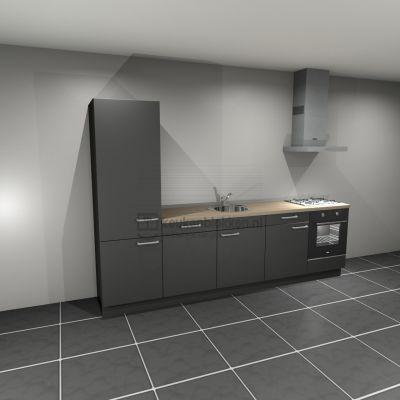 Keukenblok met apparatuur, koelkast, gaskookplaat, vaatwasser, spoelbak midden 3.00 m breed - Carbon zwart
