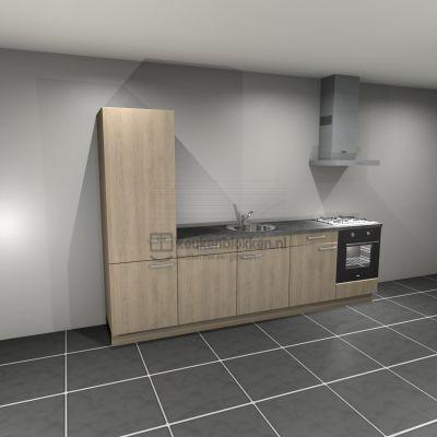 Keukenblok met apparatuur, koelkast, gaskookplaat, vaatwasser, spoelbak midden 3.00 m breed - Eiken zand