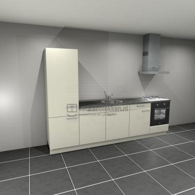 Keukenblok met apparatuur, koelkast, gaskookplaat, vaatwasser, spoelbak midden 3.00 m breed - Magnolia