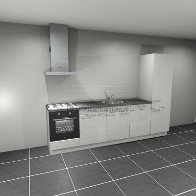 Keukenblok met apparatuur,  gaskookplaat, spoelbak midden, vaatwasser, koelkast  3.00m breed - Alpine wit hoogglans