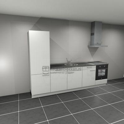 Keukenblok met apparatuur, koelkast, inductiekookplaat, vaatwasser, spoelbak midden 3.00 m breed - Alpine wit