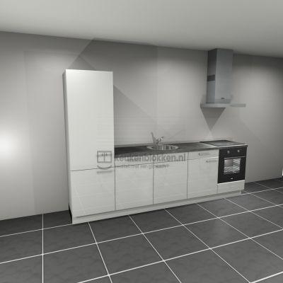 Keukenblok met apparatuur, koelkast, inductiekookplaat, vaatwasser, spoelbak midden 3.00 m breed - Alpine wit hoogglans