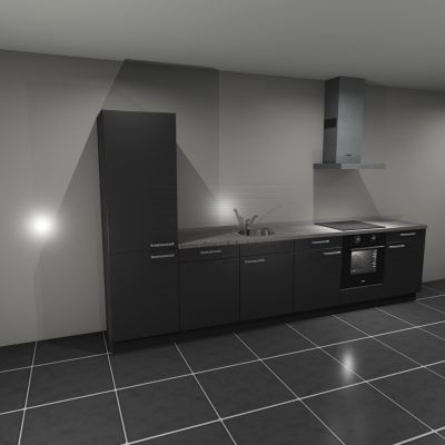 Keukenblok met apparatuur, koelvries, inductiekookplaat, vaatwasser, spoelbak midden 3.60 m breed - Carbon zwart (op voorraad)
