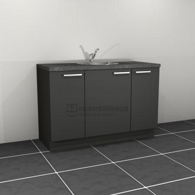 Keukenblok met spoelbak midden 1.40 m breed - Carbon zwart
