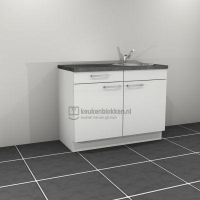 Keukenblok met spoelbak rechts met lade 1.20 m breed - Alpine wit (op voorraad)
