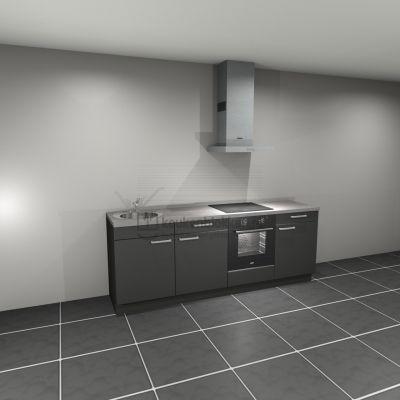 Keukenblok met apparatuur, inductiekookplaat, spoelbak links 2.40 m breed - Carbon zwart (op voorraad)
