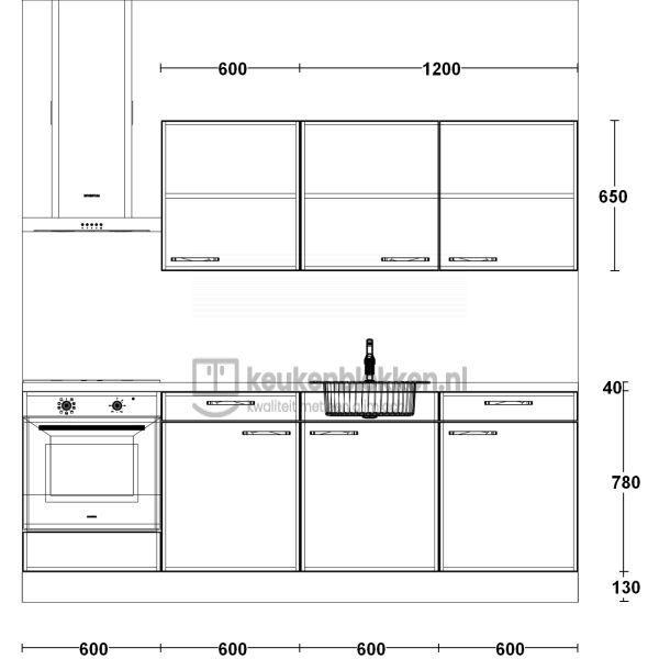 Keukenblok met apparatuur, inductiekookplaat, spoelbak middenrechts 2.40 m breed - Alpine wit hoogglans met bovenkasten eiken zand