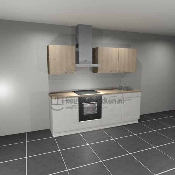 Keukenblok met apparatuur, inductiekookplaat, spoelbak rechts 2.40 m breed. - Alpine wit hoogglans met bovenkasten eiken zand