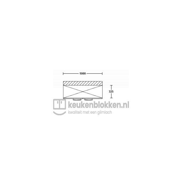 Keukenblok met spoelbak met lades 1.80 m breed - Magnolia met bovenkast