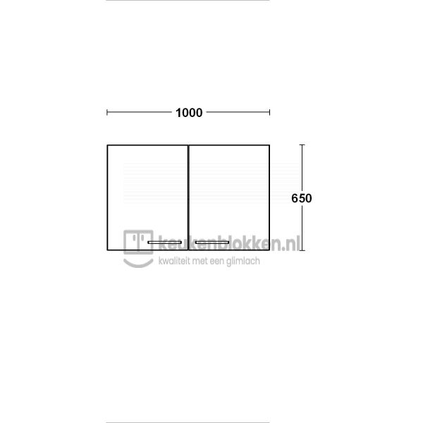 Bovenkast 1.00m breed- Onyx grijs
