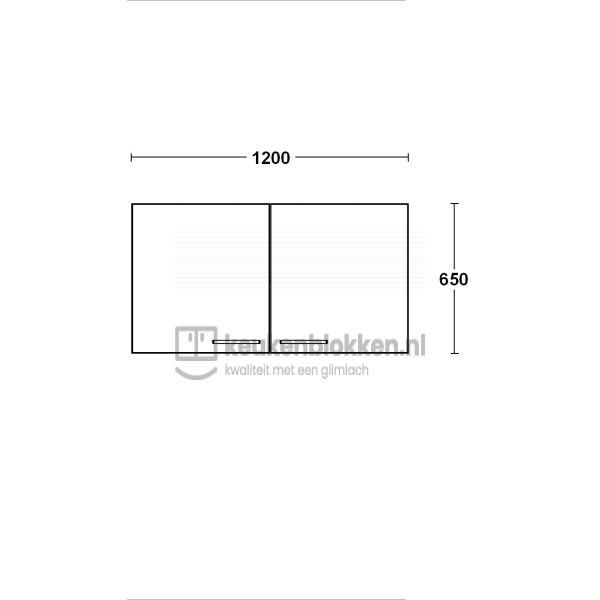 Bovenkast 1.20 m breed - Carbon zwart (op voorraad)