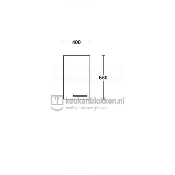 Bovenkast linksdraaiend 0.40 m breed - Onyx grijs