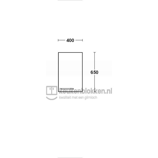 Bovenkast rechtsdraaiend 0.40 m breed - Magnolia